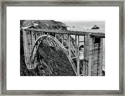 Bixby Creek Bridge Black And White Framed Print by Benjamin Yeager