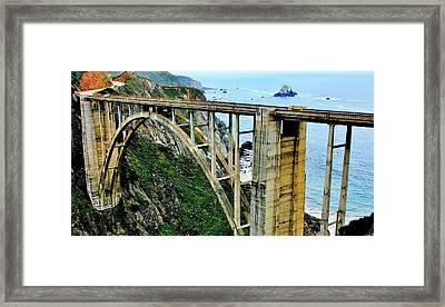 Bixby Creek Bridge Panorama Framed Print by Benjamin Yeager