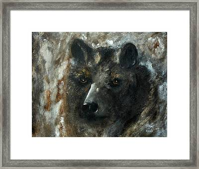 Framed Print featuring the painting Bjomolf - Bear Wolf by Barbie Batson