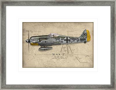 Black 13 Focke-wulf Fw 190 - Map Background Framed Print by Craig Tinder