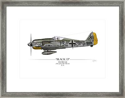 Black 13 Focke-wulf Fw 190 - White Background Framed Print by Craig Tinder