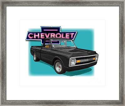 Black 1969 Chevy Pu 1969  Framed Print by Dan Knowler