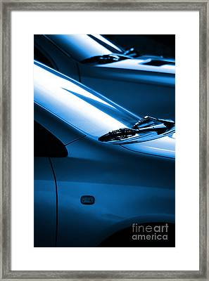 Black And Blue Cars Framed Print by Carlos Caetano