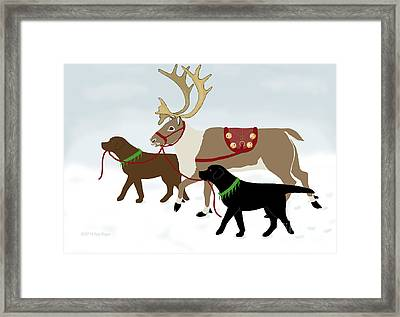 Black And Chocolate Labs Lead Reindeer Framed Print