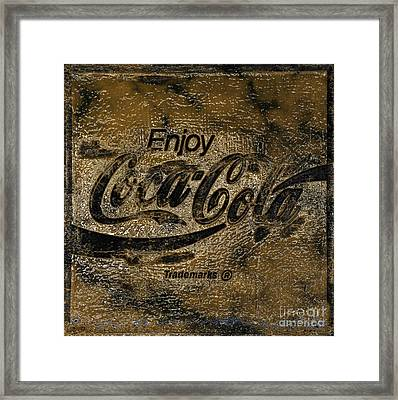 Black And Gold Abstract Coca Cola Sign Framed Print