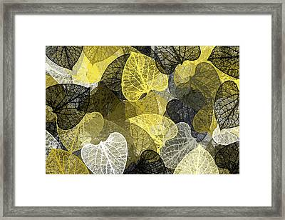 Black And Gold Leaf Pattern Framed Print