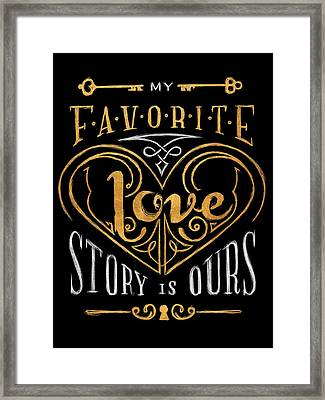 Black And Gold Love Story Framed Print by South Social Studio
