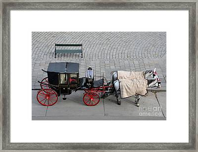 Framed Print featuring the photograph Black And Red Horse Carriage - Vienna Austria  by Imran Ahmed