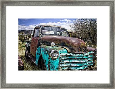 Black And Turquoise Chevy Truck Framed Print