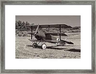Black And White 1917 Fokker Dr.1 Triplane Red Barron Framed Print by Keith Webber Jr