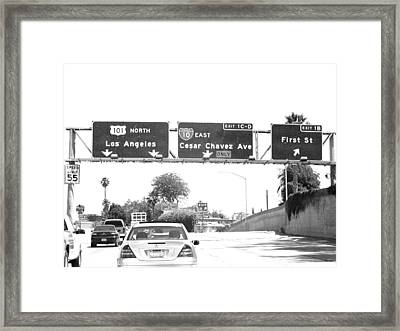 Framed Print featuring the photograph Black And White Abstract City Photography...l.a. Freeway by Amy Giacomelli