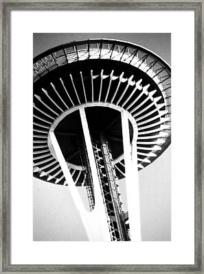 Framed Print featuring the photograph Black And White Abstract City Photography...space Needle by Amy Giacomelli