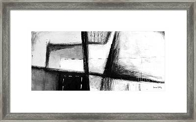 Black And White Abstract Contemporary Minimal Art By Laura Gomez - Large Panoramic Format Framed Print by Laura  Gomez