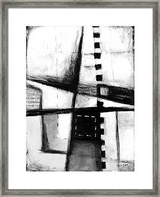 Black And White Abstract Contemporary Minimal Art By Laura Gomez Framed Print by Laura  Gomez