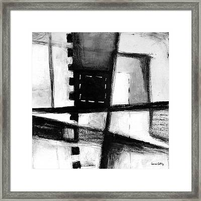 Black And White Abstract Contemporary Minimal Art By Laura Gomez -square Format  Framed Print by Laura  Gomez
