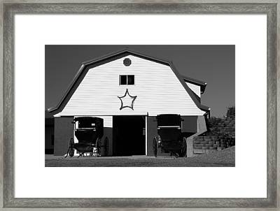 Black And White Amish Buggies And Barn Framed Print