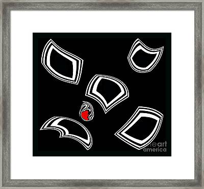 Black And White And Red Minimalist Abstract Art No.55. Framed Print