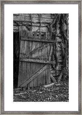 Black And White Barn Door Framed Print by Amber Kresge