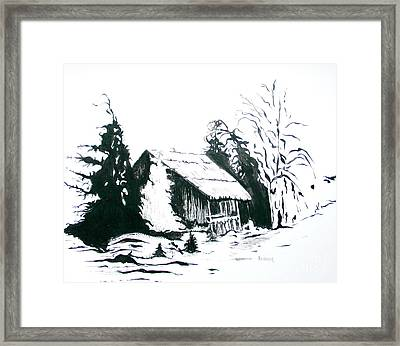 Black And White Barn In Snow Framed Print