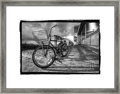 Black And White Beach Bike Framed Print