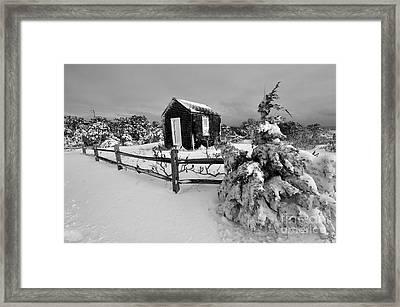 Black And White Beach Shack Framed Print