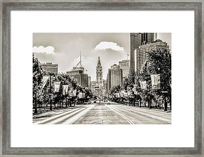 Black And White Benjamin Franklin Parkway Framed Print