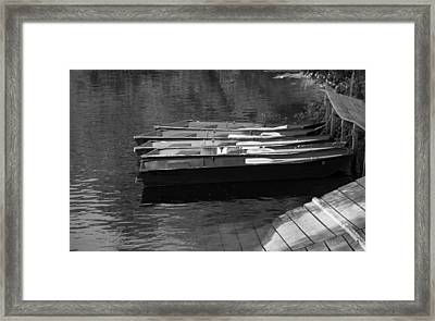 Black And White Boats On Water Framed Print
