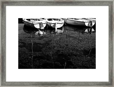 Black And White Boats Framed Print by Pati Photography