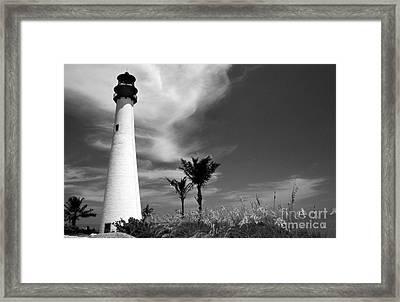 Black And White Cape Florida Light Framed Print