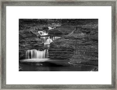 Black And White Cascade Framed Print by Bill Wakeley
