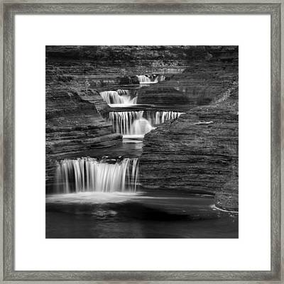 Black And White Cascade Square Framed Print by Bill Wakeley