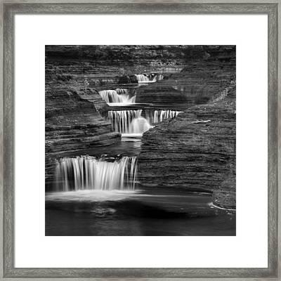 Black And White Cascade Square Framed Print