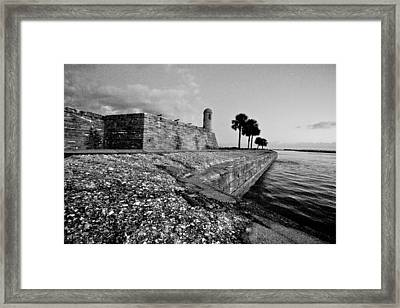 Black And White Castillo De San Marcos View 3 Framed Print