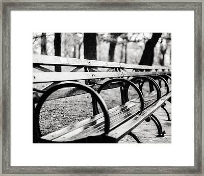 Black And White Central Park Bench In New York City Framed Print by Lisa Russo