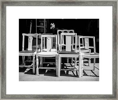 Black And White Chairs Framed Print by Sonja Quintero