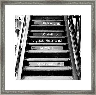 Black And White Chicago L Stairs Framed Print