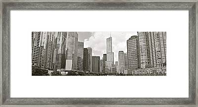 Black And White Chicago Panoramic Framed Print by Frozen in Time Fine Art Photography