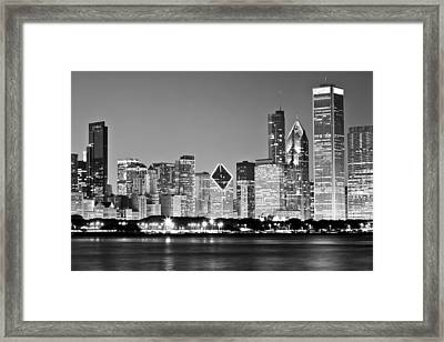 Black And White Chicago Skyline Framed Print by Georgia Fowler