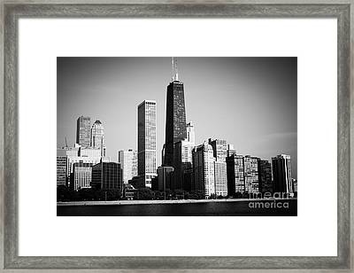 Black And White Chicago Skyline With Hancock Building Framed Print by Paul Velgos