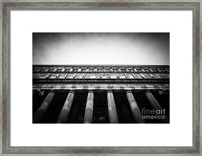 Black And White Chicago Union Station Framed Print by Paul Velgos