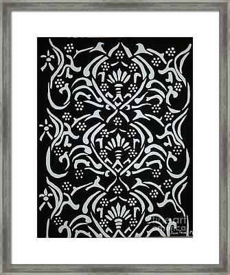 Black And White Classic Damask Framed Print