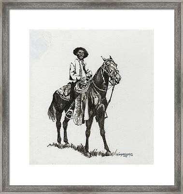 Black And White - Cowboy Framed Print