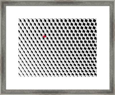 Black And White Cubes With One Red Cube. Framed Print