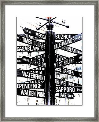 Black And White Directions  Framed Print by Cathie Tyler