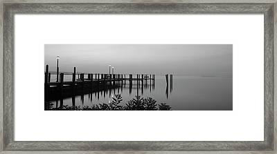 Black And White Dock Framed Print by Crystal Wightman