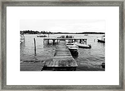Black And White Dock Framed Print by John Rizzuto