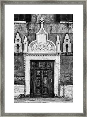 Black And White Door In Venice Framed Print