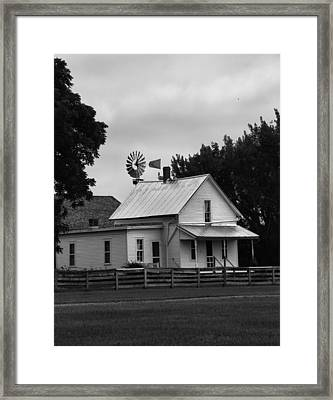Black And White Farm And Windmill Framed Print