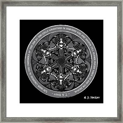 Black And White Gothic Celtic Mermaids Framed Print