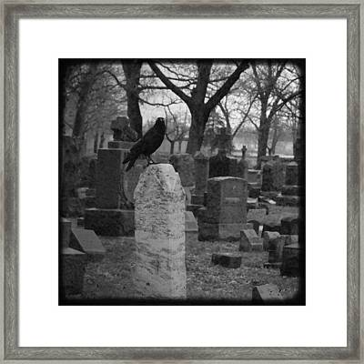 Black And White Graveyard Framed Print by Gothicrow Images